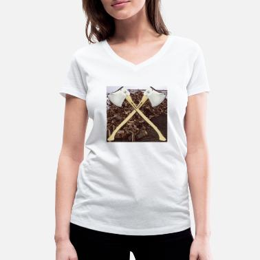 Sters Ster wood with ax lumberjack oak beech ash - Women's Organic V-Neck T-Shirt by Stanley & Stella