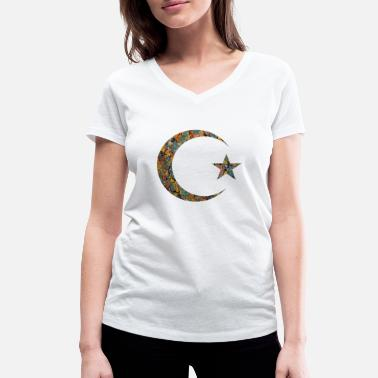 Islam Crescent Moon Star Crescent and star e 86 - Women's Organic V-Neck T-Shirt by Stanley & Stella