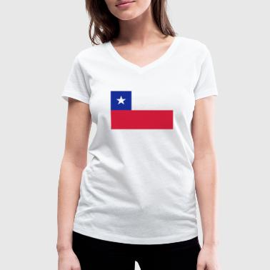 National flag of Chile - Women's Organic V-Neck T-Shirt by Stanley & Stella