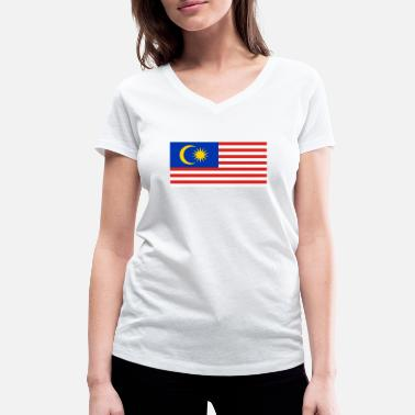 Malaysia Flag National flag of Malaysia - Women's Organic V-Neck T-Shirt by Stanley & Stella