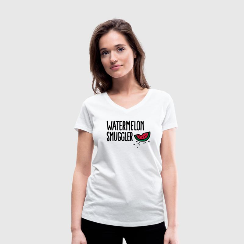 Watermelon smuggler - Women's Organic V-Neck T-Shirt by Stanley & Stella