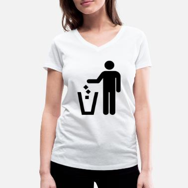 Trash Can Stick figure trash can - Women's Organic V-Neck T-Shirt by Stanley & Stella