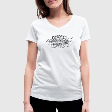 Filigree lotus with leaves, yoga - Women's Organic V-Neck T-Shirt by Stanley & Stella