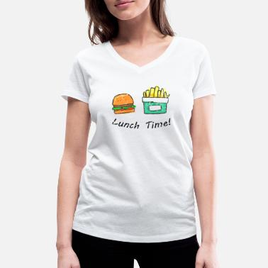 Lunch Break Lunch time burger with chips - Women's Organic V-Neck T-Shirt by Stanley & Stella