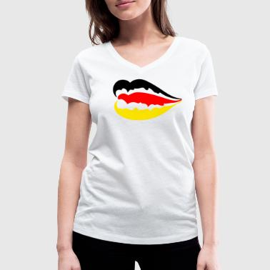 Flag Sexy German flag / Germany flag - Sexy lips - Women's Organic V-Neck T-Shirt by Stanley & Stella