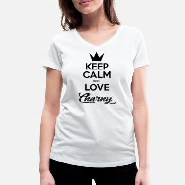 KEEP CALM AND LOVE CHARNY - T-shirt bio col V Femme