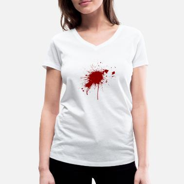 Gunshot Wound Blood spatter from a bullet wound - Women's Organic V-Neck T-Shirt by Stanley & Stella
