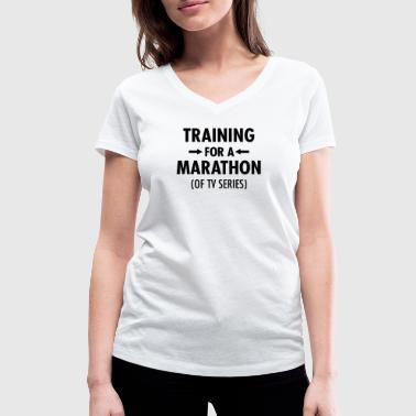 Tv Series Training For A Marathon (Of TV Series) - Women's Organic V-Neck T-Shirt by Stanley & Stella