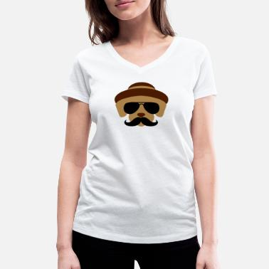 Tim Tracker Indognito, incognito for dogs, hipster, Bart - Women's Organic V-Neck T-Shirt by Stanley & Stella
