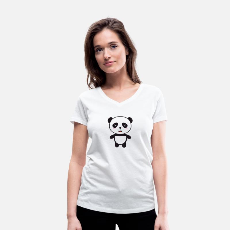 Baby T-Shirts - Kawaii Panda bear - Women's Organic V-Neck T-Shirt white