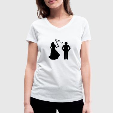 Marriage, Bride with whip & Groom - Women's Organic V-Neck T-Shirt by Stanley & Stella