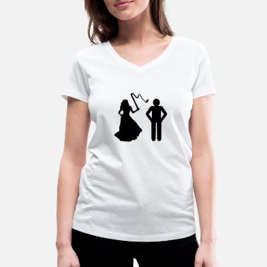 Bitch Groom Marriage, Bride with whip & Groom - Women's Organic V-Neck T-Shirt by Stanley & Stella