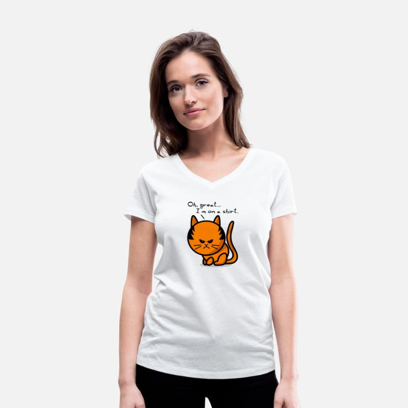 Grumpy Cat Magliette - cat grumpy cat on shirt - Maglietta da donna scollo a V bianco