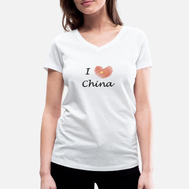 Love China I love China I love China - Women's Organic V-Neck T-Shirt by Stanley & Stella