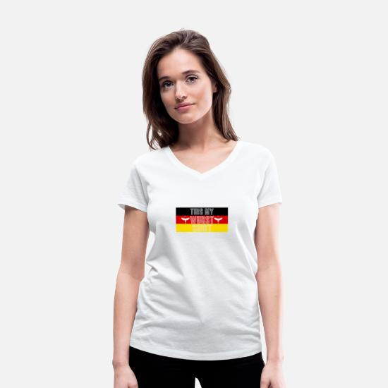 Grill T-Shirts - World Bratwurst Day - Day of Bratwurst - Women's Organic V-Neck T-Shirt white