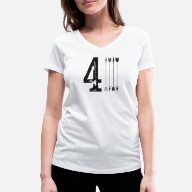 Four Number number four - Women's Organic V-Neck T-Shirt by Stanley & Stella