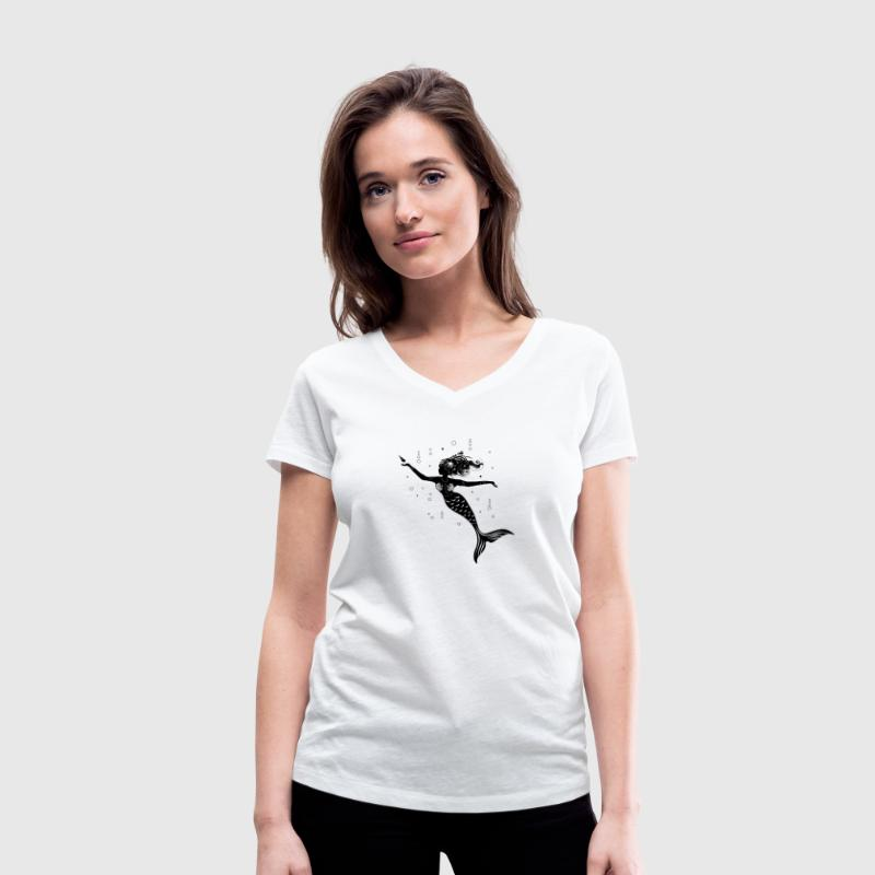 mermaid playing with a shell - Women's Organic V-Neck T-Shirt by Stanley & Stella