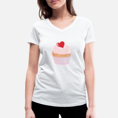 Scribble Party Cupcake - Women's Organic V-Neck T-Shirt by Stanley & Stella