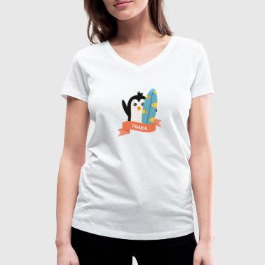 Dhaka Penguin Surfer from Dhaka S9ekqc - Women's Organic V-Neck T-Shirt by Stanley & Stella