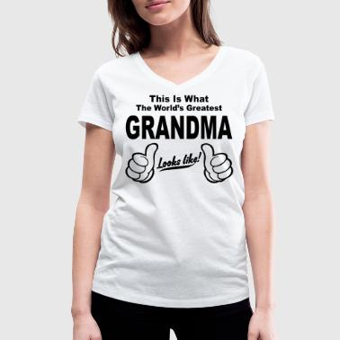 Worlds Greatest Great Grandma Looks Like - Women's Organic V-Neck T-Shirt by Stanley & Stella