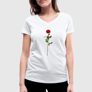 Stem Rose with stem - Women's Organic V-Neck T-Shirt by Stanley & Stella