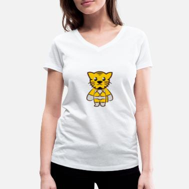 Tiger Style Sweet tiger in comic style - Women's Organic V-Neck T-Shirt by Stanley & Stella