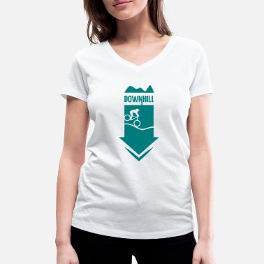 Wheel DOWNHILL - WHEEL ON HILL - Women's Organic V-Neck T-Shirt by Stanley & Stella