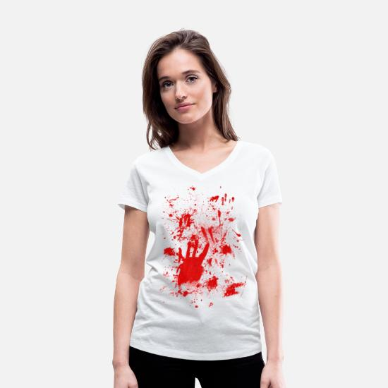 Zombie T-Shirts - Splashes of blood / blood Smeared - Women's Organic V-Neck T-Shirt white