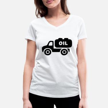 Oil Gas Oil transporter on the way to the gas station - Women's Organic V-Neck T-Shirt