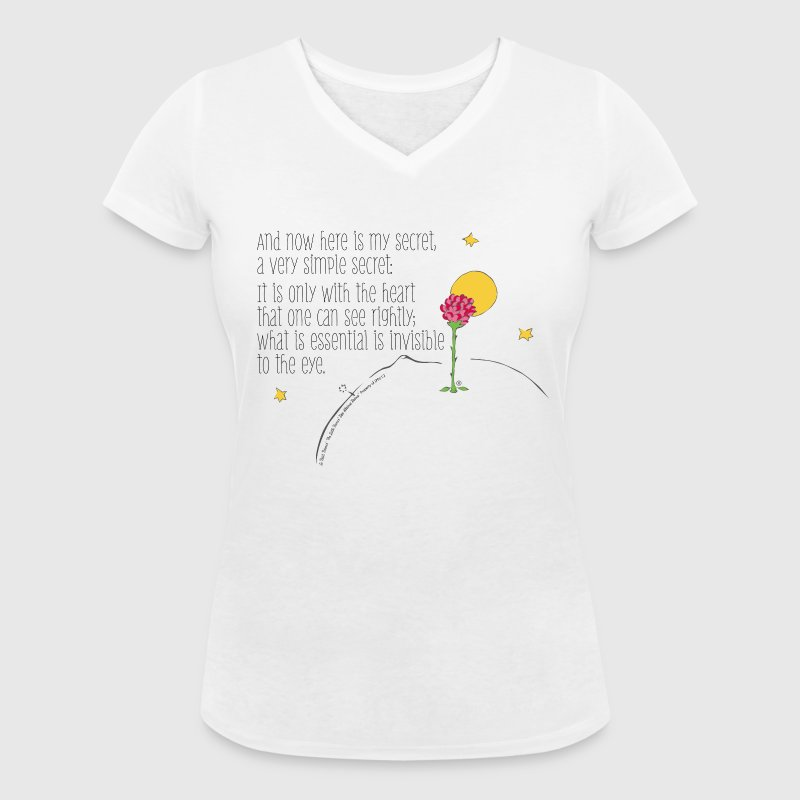 The Little Prince Quote Heart Sees Rightly - Women's Organic V-Neck T-Shirt by Stanley & Stella