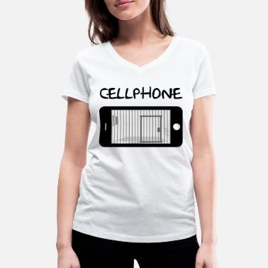 Mobile Cell Phone Mobile Cell & Prison - Women's Organic V-Neck T-Shirt by Stanley & Stella