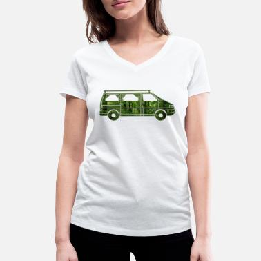 Curtain Camper Van with curtains, forest, gift - Women's Organic V-Neck T-Shirt by Stanley & Stella