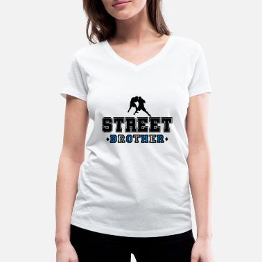 Street Fight Nazi Fight Street Brother - Women's Organic V-Neck T-Shirt by Stanley & Stella