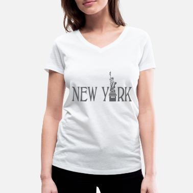 Liberty Kids New York lettering statue of liberty gift idea - Women's Organic V-Neck T-Shirt by Stanley & Stella
