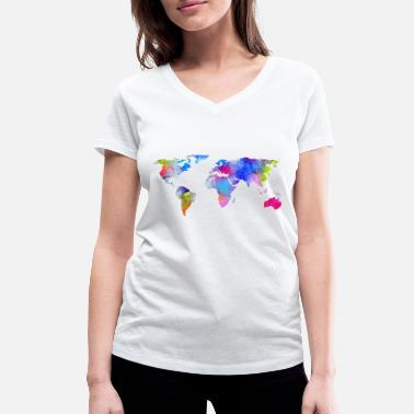 World Map map of the world - Women's Organic V-Neck T-Shirt by Stanley & Stella