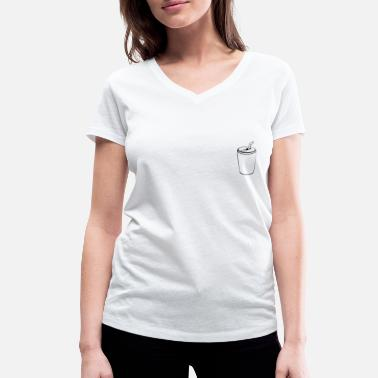 Tin Can Can with straw on the chest - drawing tin - Women's Organic V-Neck T-Shirt by Stanley & Stella