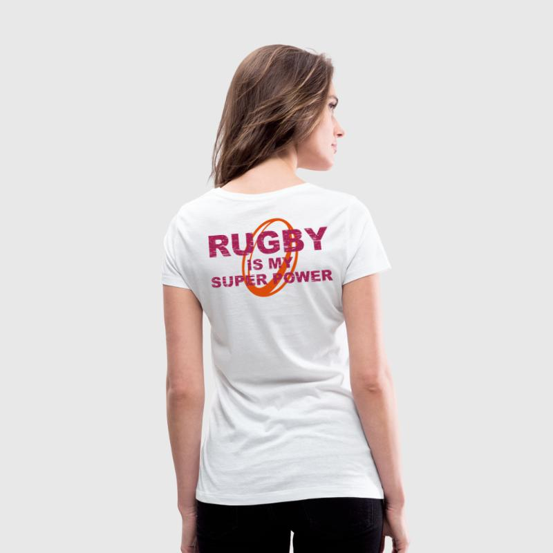 rugby is my superpower eng - Women's Organic V-Neck T-Shirt by Stanley & Stella