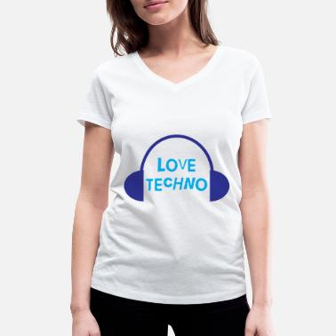 Disco Techno Love with headphone design - Women's Organic V-Neck T-Shirt