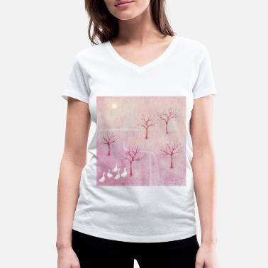 Orchard Geese in the Orchard - Women's Organic V-Neck T-Shirt
