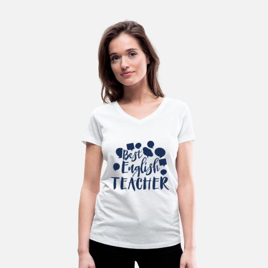Gift Idea T-Shirts - Teacher - Women's Organic V-Neck T-Shirt white