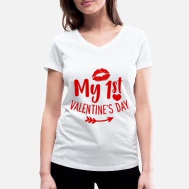 Valentine My 1st Valentine's Day Love Gift - Women's Organic V-Neck T-Shirt