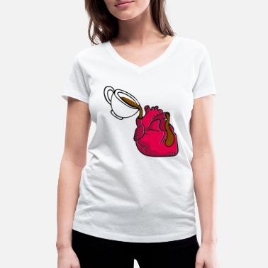 Heart fueled with coffee - Women's Organic V-Neck T-Shirt