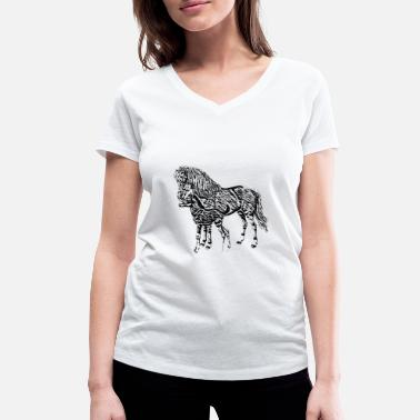 Mare Mare with a foal - Women's Organic V-Neck T-Shirt