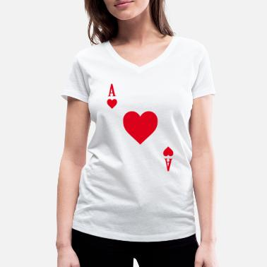 Póker Camiseta de cartas de póker Casino gamble heart as red - Camiseta con cuello de pico mujer