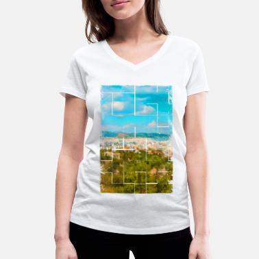 Ancient Greece A distant view of ancient Athens in Greece - Women's Organic V-Neck T-Shirt
