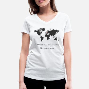 World Wanderlust has a home, travel, world map - Women's Organic V-Neck T-Shirt