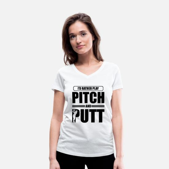 Golf Ball T-Shirts - Golfing Pitch Golf Golfer Pitch and Putt Putt - Women's Organic V-Neck T-Shirt white