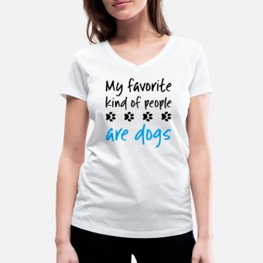 Paw Dog Lover Quote Funny Favorite People Paw Prints - Women's Organic V-Neck T-Shirt