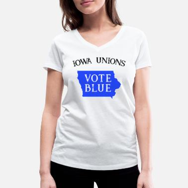 Democratic Party Iowa Democrat Vote State Blue Voter Union Workers - Women's Organic V-Neck T-Shirt