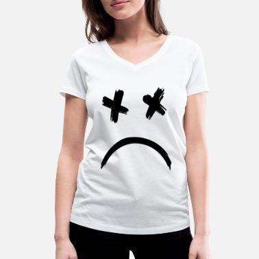 Melancholy Sad Dead Smile Face - Women's Organic V-Neck T-Shirt